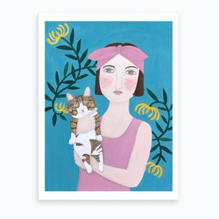 2 Woman In Pink Dress With Cat Art Print