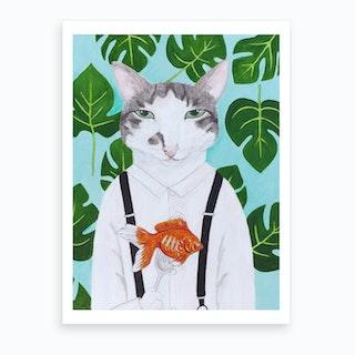 Cat And Goldfish Art Print