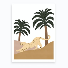 Jungle Art  Leopard Stretching  Art Print