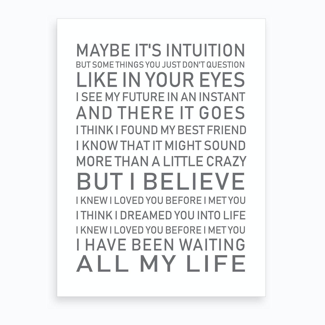 All My Life White Grey Text Art Print