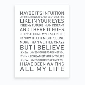 All My Life White Grey Text Art Print