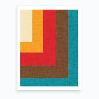 Abstract Mod Cube Beige Art Print