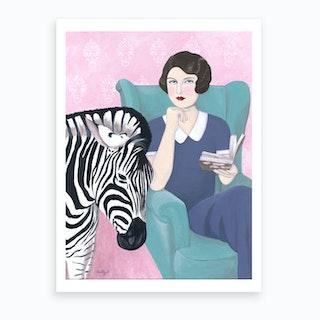 Woman And Zebra Art Print