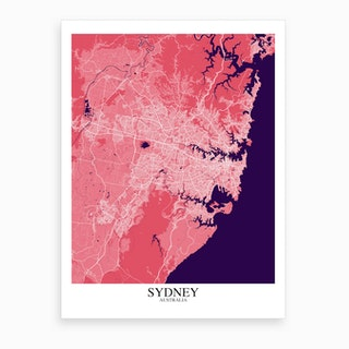 Sydney Pink Purple Map Art Print