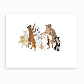 Dancing Dogs Art Print