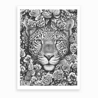 Jaguar In Flowers Art Print