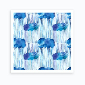 Raining Clouds Blue Square Art Print