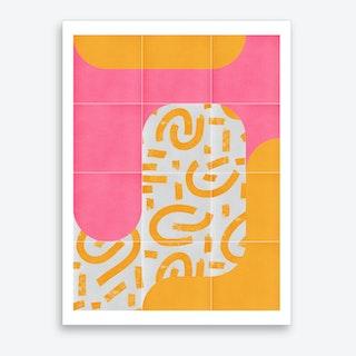 Sunny Doodle Tiles 02 Art Print
