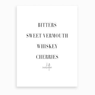 Manhattan Cocktail Recipe Art Print