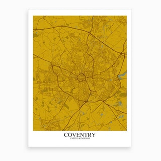 Coventry Yellow Blue Map Art Print