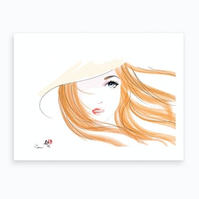 Girl With Orange Hair Art Print