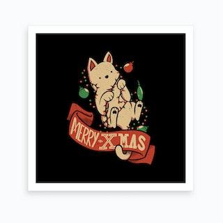Merry Christmas Cat Art Print