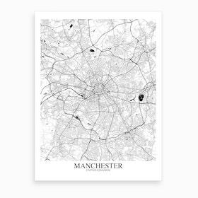 Manchester White Black Map Art Print
