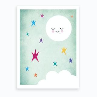 Sleepy Moon Nursery Art Print
