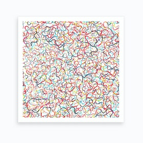 Water Drawings White Square Art Print