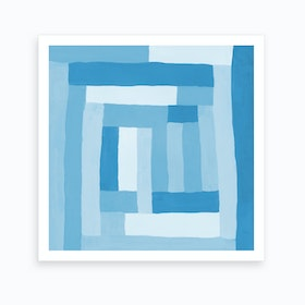 Painted Color Block Sprial In Mint Art Print