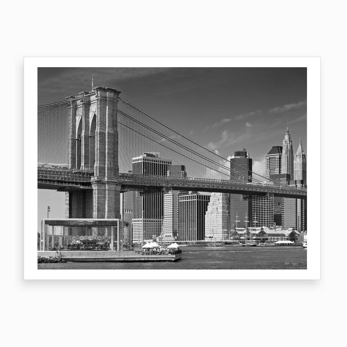 Manhattan Skyline & Brooklyn Bridge Art Print