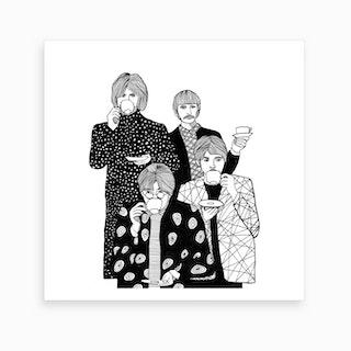 The Beatles Drinking Tea2 Art Print