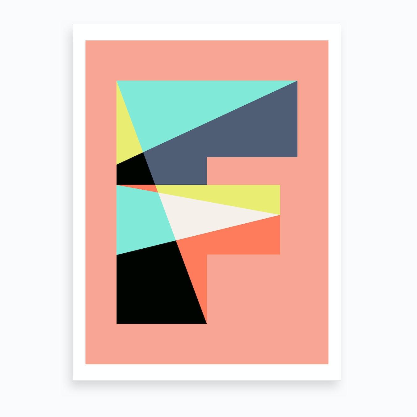 Letter Art Print.Letter F Art Print