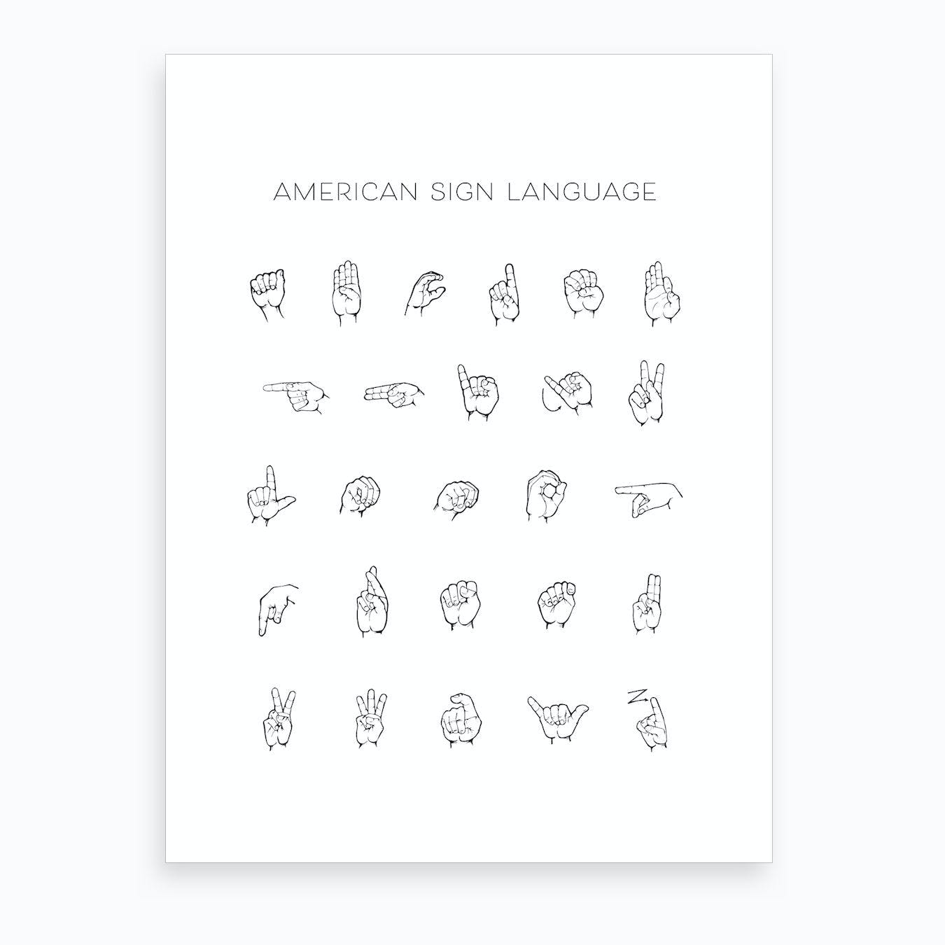 picture relating to Printable Sign Language Chart known as American Indicator Language Chart Artwork Print