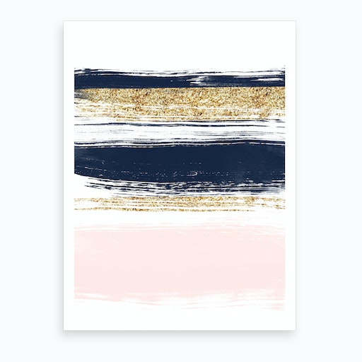 Gold, Blue and Pink Strokes Art Print
