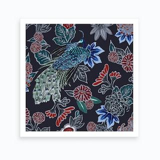 Peacocking In Midnight Art Print