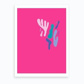Pink Shapes Abstract Art Print