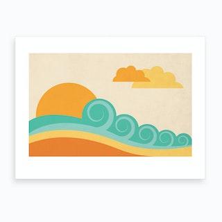 Retro Beach Art Print