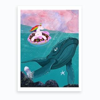 Unicorn And Whale Art Print