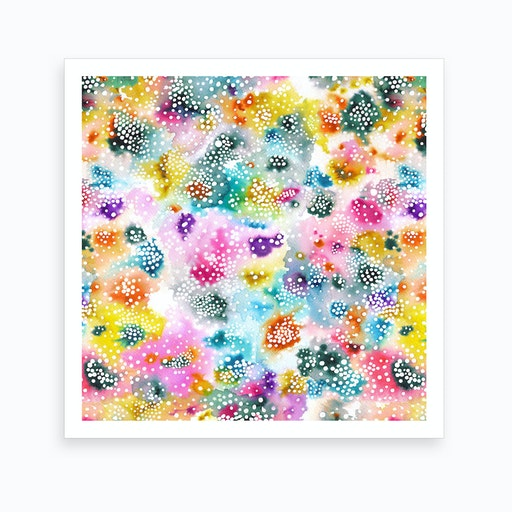 Experimental Surface Colorful Square Art Print