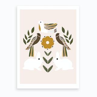 Folkie Rabbits And Birds Art Print
