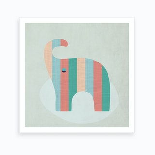 Scandi Elephant Nursery Art Print