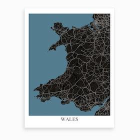 Wales Black Blue Map Art Print