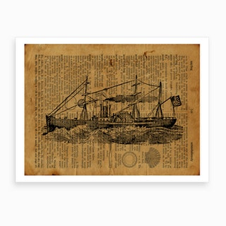 Steam Boat On Rough Waters Art Print