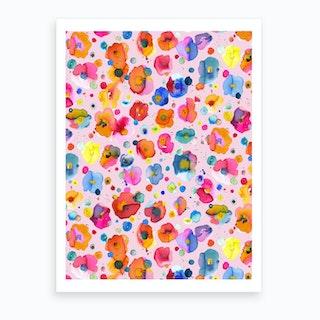 Bohemian Naive Flowers Pink Art Print