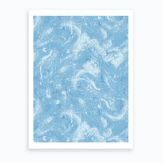 Abstract Dripping Painting Blue Art Print