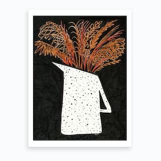 Pampas Grass In Pitcher  Art Print