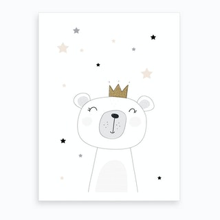 Scandi Cute Bear With Stars Art Print