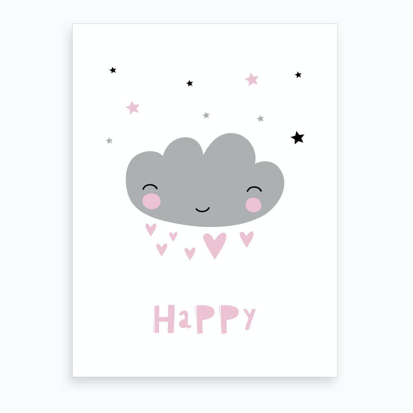 Scandi Happy Grey Cloud Art Print