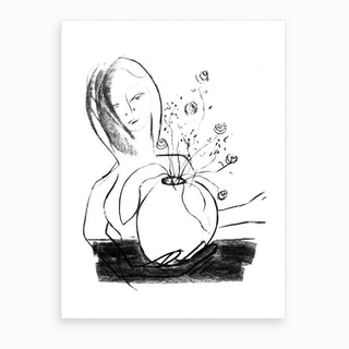Holding The Pot Of Flowers Art Print