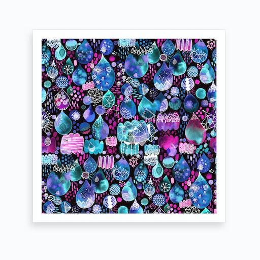 Rain Stitches Neon Square Art Print