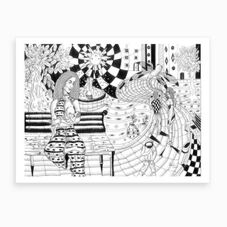 Mother And Her Son In The Square Art Print