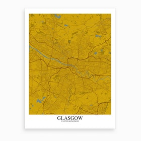 Glasgow Yellow Blue Map Art Print