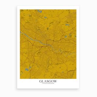Glasgow Yellow Blue Map Art Print