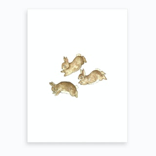 Frolicking Rabbits Art Print