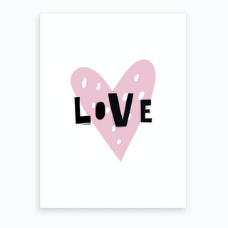 Scandi Love Pink Heart Art Print