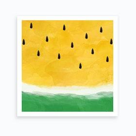 Yellow Watermelon Square Art Print
