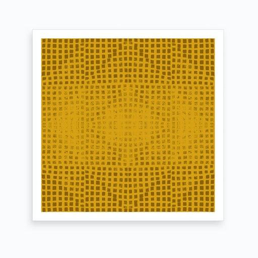 Gods Eye Block Print In Mustard Art Print