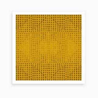 Gods Eye Block Print In Mustard Art Print