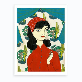 Woman With Plant Specimen  Art Print